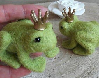 Felted frog fairytale prince keepsake small birthday gift