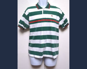 Gucci  Mens Vintage Designer Classic Polo Shirt Top Short Sleeved White Green Red  Sz Small / Medium