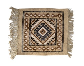 Door Mat Natural Kilim Rug 42 x 42cm Wool - Beige