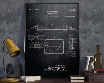Golden Gate Bridge Patent Poster| Architect Gift| Wall Art| San Francisco Wall Decor| American Memory Art| Engineer Gift| HPH235