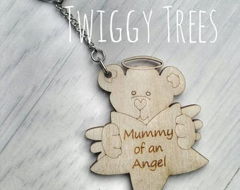 Mummy to an Angel Baby Gift Keyring. Infant loss keychain. Sids. Gone too soon. rememberance wooden personalised engraved