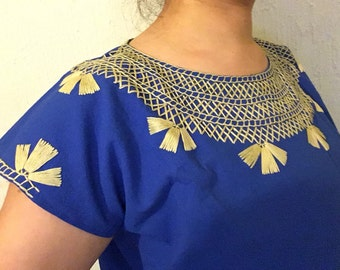 Traditional Mexican blue blose cadenilla-embroidered