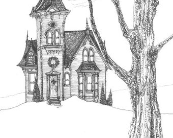 Haunted Victorian House holiday greeting card - Spooky snowy scene, decorated with a wreath.