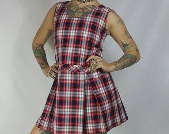 Vintage 1980s Red Plaid School Girl Uniform Dress size XS/S