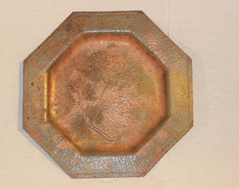 Mission Hand Hammered Copper Plate - Pinecones