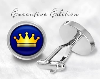 Crown Cufflinks - Gold Crown Cuff Links - Royal Crown Cufflink (Pair) Lifetime Guarantee (S0501)