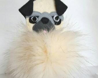 Pug pom pom, Bag hanger, Furry pug key ring, Pet memorial keepsake, purse charm Pug lover gift, Bag charm, Mum gift Dog lover, gift for her