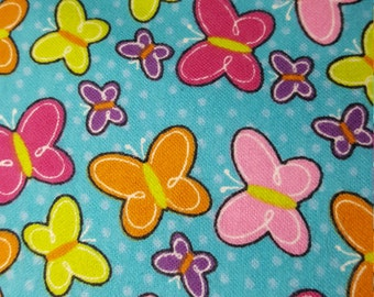 Butterfly Toss Turquoise Flannel by Brother Sister Design Studio, Fabric by the Yard
