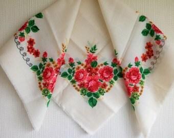 Vintage Russian floral shawl, wedding shawl, russian floral scarf, babushka scarf, ivory wool shawl