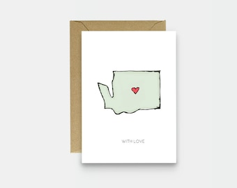 Washington State Illustration - Just Because Card - Miss You Card - Love Card - Greeting Card - Thinking Of You Card - With Love