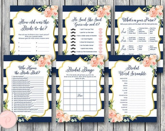 Navy & Gold Floral Bridal Shower Games Package, Instant Download, 6 Games Printable, Game Download, Bridal Shower Activities TH74