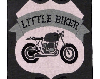 Pink and Grey knit Little Biker Throw