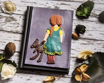 Cute little girl with teddy bear, polymer clay journal cover on A6 size notebook. Handmade polymer clay journal. Hand sculpt girl and toy
