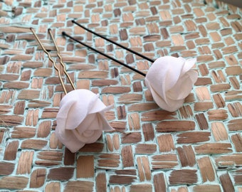 Bridal hairstyle 6 rose hair pins hair accessories for wedding flowers in the hair of Decoclay polymer clay