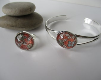 Bangle and Ring with detail of Japanese vintage silk kimono fabric - Orange floral