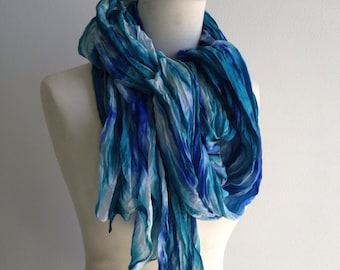 Tie dyed silk scarf, Turquoise n blue, 115