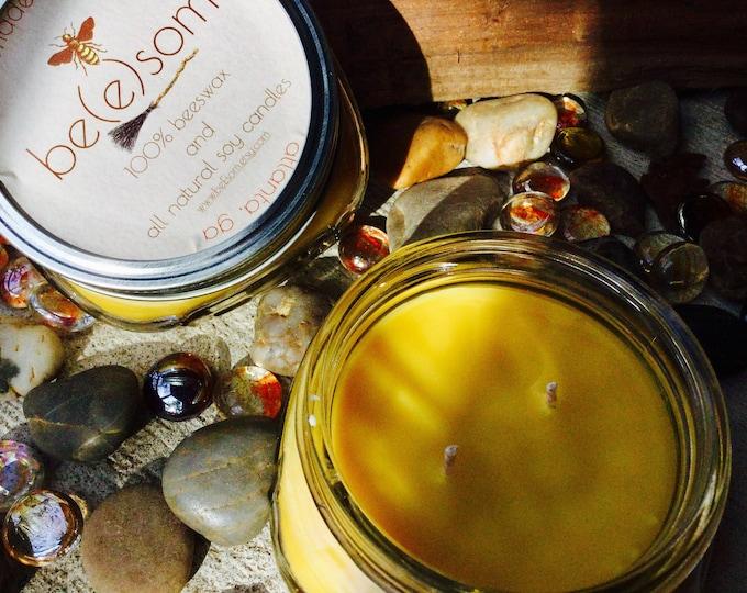 100% Pure Beeswax 8oz Jar Candle in Flat Mason Jar. Scented w/Pumpkin Apple Cinnamon, Heilala Vanilla, Sandalwood or unscented Natural Honey