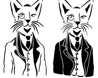 "12/12"" cat in suit stencil."