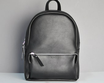 Black leather backpack - Pilot S, Black Backpack, City Backpack, Travel Backpack, Laptop bag, Hipster Backpack