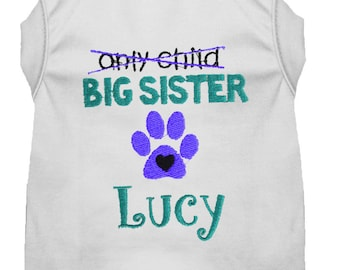 Personalized Pregnancy Announcement Dog Shirt - Big Sister To Be Dog Shirt - Embroidered Sister Pet Shirt - Baby Announcement Dog Tee