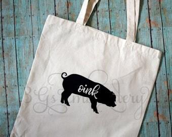 Pig Market Tote, Canvas tote, Farmers' Market, Market bag,