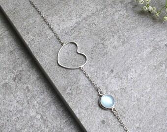 Delicate heart Bracelet Heart Bracelet Dainty Heart Bracelet Friendship Bracelet Chalcedony Boyfriend Girlfriend Jewellery Girlfriend Gift