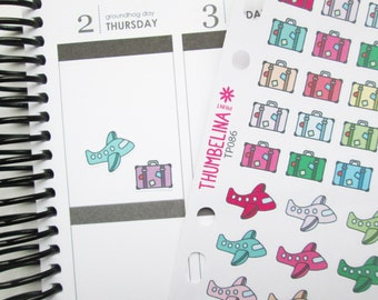 Aeroplane and Suitcase Decorative Planner Stickers for Erin Condre, Happy Planner and more (TP086)