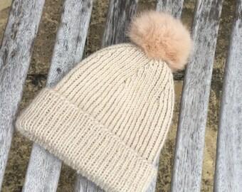 Baby alpaca Pom Pom hat / beanie - NEW Alpaca new born baby hat by Willow Luxury