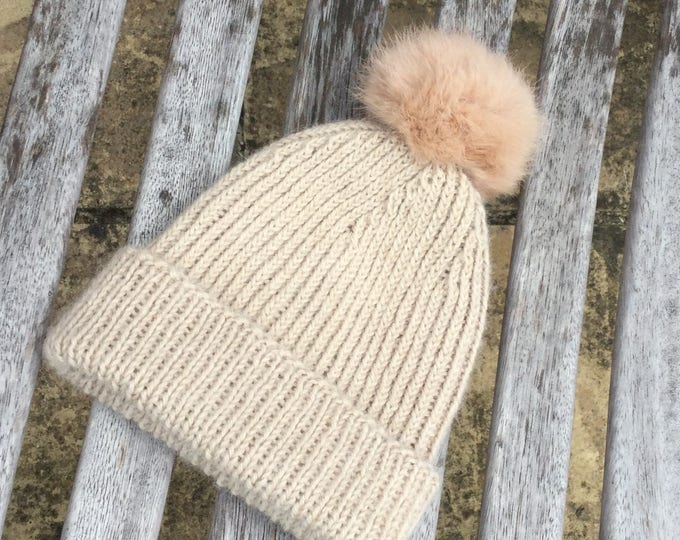 Baby alpaca Pom Pom hat / beanie - NEW Alpaca new born baby hat by Willow Luxury