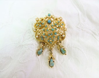 Costume brooch, turquoise coloured stones and faux pearls in a gold tone setting, Victorian style