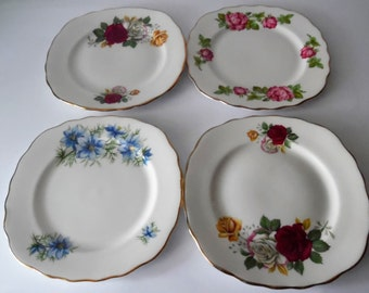 A mix & match set of 4 vintage china teaplates. China side plates. vintage tableware. vintage china. Retro floral plates