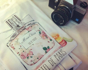 Lovely new t-shirt white cotton perfume classy miss cheriè french hotel de paris profume macarons pink
