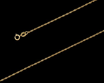 "14K Yellow Gold Singapore Chain Necklace, 1mm, 16""-24"", with Spring Clasp"