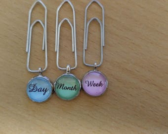 Set of 3 mini Planner paper clips (version, color and font variable)