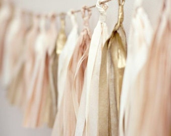 Neutral Blush Gold Tassel Garland