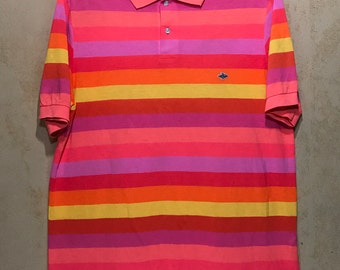 """Vintage PEARLY GATES Brand Neon Color Stripes Polo Shirt Hip Hop Fashion Chest 23"""""""