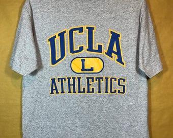 80s Vintage UCLA ATHLETICS T-shirt Blend Cotton Rayon Large Size