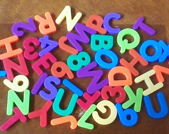 Huge Lot of 42 Large Vintage Magnetic Alphabet Letters, Refrigerator Alphabet Magnets, ABC 123 Letters Numbers