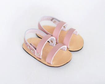 Leather Baby Sandal- Double Strap in Blush Pink