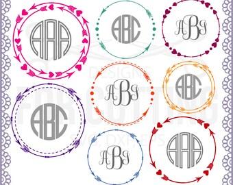 Arrow frame, Arrow monogram initial border, Circle Arrow frame, love, boho, DXF/.SVG/.EPS File, Cutting or Printing, Instant Download. 0541