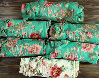 Bridesmaid Robe Set of 4 - Four Floral Bridesmaid Robes- Cotton robes - Bridesmaid gifts Personalized - Monogrammed Robes - 100% Cotton
