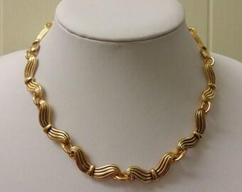 Vintage Gold Necklace, 1970s Necklace, Statement Necklace, Statement Gold Necklace, Gold Choker Necklace, Gold Collarette Necklace