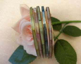 Vintage Mother of Pearl Bangle, Stack Bangle, Set of 5 Bangles, Shell Bangles, Festival Bangles, Boho Bangles