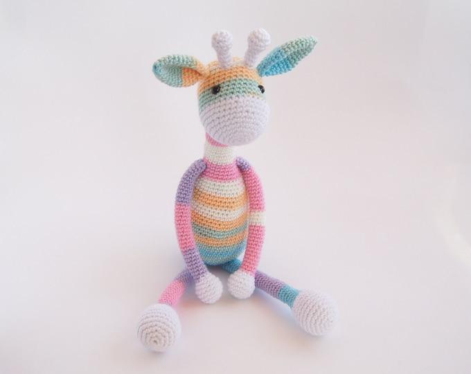 Crochet Toy - Amigurumi - Rainbow Colourful Giraffe - Animal - Handmade Doll - Stuffed Toy - Custom Color Toy - Gift for a girl boy