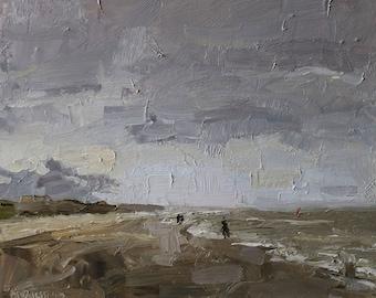 "seascape oil painting, ""Purple gray sky"", oil on panel, 24x30 cm, beachpainting"
