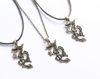 Chinese Dragon Zodiac Necklace, Bronze Dragon Pendant Charm, Power Strength Good Luck Necklace, Year of the Dragon Necklace