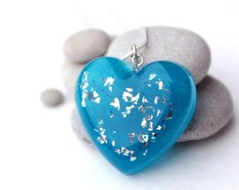 Blue Glitter Heart Resin Necklace - Glitter Necklace - Heart Necklace - Resin Necklace - Statement Necklace - Resin Pendant
