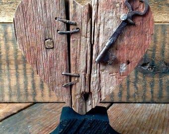 Mended Heart, Wood Broken Heart with Vintage Key, Rustic Heart, Wooden Heart