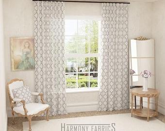 preston custom cotton drapery panels geometric print drapes 100 cotton curtains available