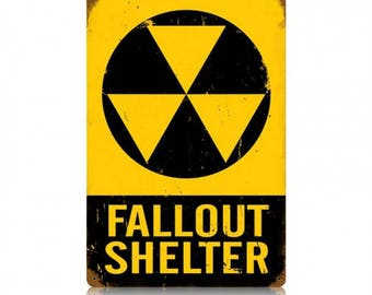 "Metal Sign "" Fallout Shelter Sign Radiation "" 12""x18"" Man Cave"
